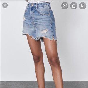 Zara Denim High Waist Short NWT sz 2